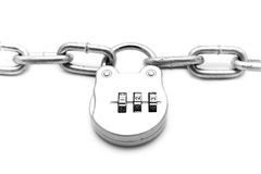 Metallic chain with a lock Stock Photography