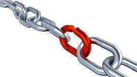 Metallic Chain with One Red Link Stock Photos