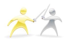 Metallic character swordfight. Metallic cartoon mascot character concept. Sword fight duel Royalty Free Stock Photography