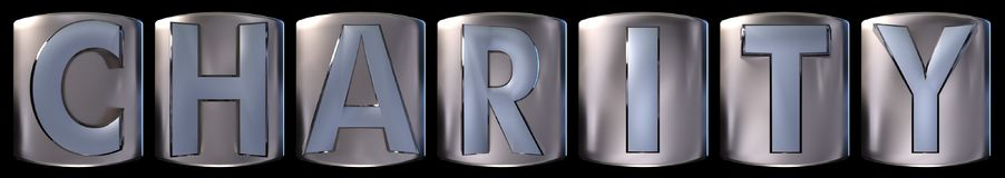 Metallic charity word. Metallic blue silver charity word realistic 3d rendered on black background Stock Images