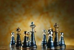 Metallic Chess Pieces. Beautiful metallic chess pieces shot on chess board Royalty Free Stock Photos