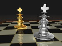 Metallic chess pieces Stock Photography