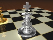 Metallic chess pieces Royalty Free Stock Image