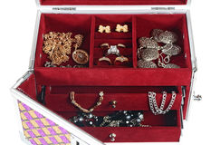 Metallic chest box for jewelry Stock Images
