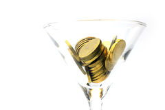 Metallic chinks and wineglass Royalty Free Stock Image