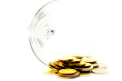 Metallic chinks and wineglass Stock Image