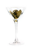 Metallic chinks and wineglass Royalty Free Stock Images