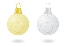 Metallic Christmas Ornaments. Gold and silver sparkling metallic Christmas ornaments Royalty Free Stock Image