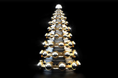 Metallic Christmas Tree from bearings, 3D rendering. Abstract metallic Christmas Tree from bearings, 3D rendering on black background Stock Image