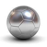 Metallic chrome soccer ball over white background with reflection Royalty Free Stock Photography