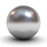Metallic chrome sphere over white Stock Photography