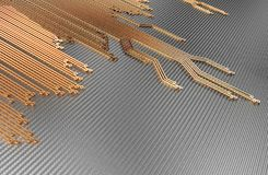 Metallic Circuit Board Abstract Background. Circuit board abstract background. 3D illustration Stock Illustration