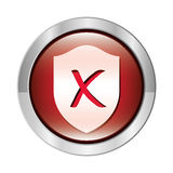 metallic circular button with shield inside with closed symbol shape Stock Photos