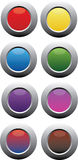 Metallic circular color buttons. Editable vector buttons in full color and degraded colors with illustrator file Royalty Free Stock Photo