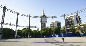 Metallic circular structure in the park of Barceloneta Royalty Free Stock Photography