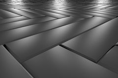 Metallic classic parquet flooring perspective view Royalty Free Stock Photos