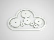 Metallic Cloud Computing Icon on bright Background Stock Photos