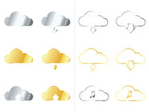Metallic Cloud Icons Stock Image