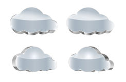 Metallic cloud set: glossy icons Royalty Free Stock Photography