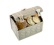 Metallic coffer with coin Royalty Free Stock Photos