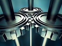 Metallic Cogwheel Working Gears Background Stock Images