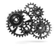Metallic Cogwheels. Engaged 3D Illustration on White Background stock illustration