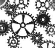 Metallic Cogwheels. Many Metallic Cogwheels Engaged 3D Illustration on White Background royalty free illustration