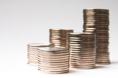 Metallic coins Stock Image
