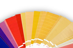 Metallic color foils swatches. Samples of metallic color foils isolated on white royalty free stock images