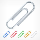 Metallic color paperclips on white Stock Photo