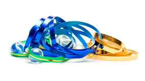 Metallic colored ribbons Royalty Free Stock Photography