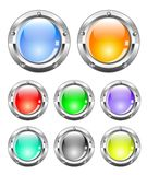 Metallic colorful buttons stock illustration
