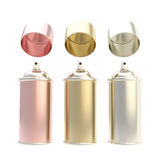 Metallic colors spray oil cylinders isolated Stock Image