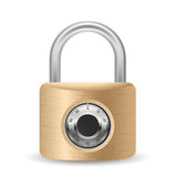 Metallic combination padlock Stock Photo