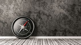 Compass in the Room with Copyspace. Metallic Compass with Red Magnetic Needle Pointing Toward the North on Wooden Floor Against a Plastered Wall with Copyspace stock illustration