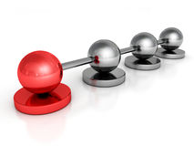 Metallic concept sphere network with red leader ball Royalty Free Stock Images