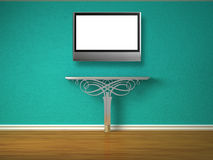 Metallic console-table with lcd tv Royalty Free Stock Image