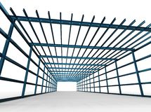 Metallic construction. A 3D rendering of metallic construction on white background stock illustration