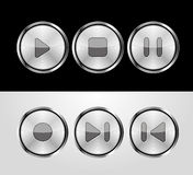 Metallic control buttons. Set of metallic control buttons Stock Photography