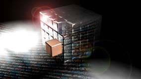 Metallic cube made of many small cubes. Software text is in front of it Stock Images