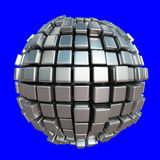 Metallic cube sphere on blue background Royalty Free Illustration