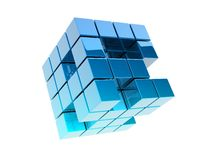 Metallic cubes. 3d metallic cubes on white background Stock Images