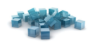 Metallic cubes. Scattering on white background Stock Photos