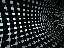 Metallic Cubes Tonnel Structure Dark Background Stock Photos