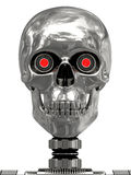 Metallic cyborg head with red eyes vector illustration