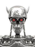 Metallic cyborg in helmet with horns royalty free stock image