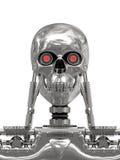 Metallic cyborg isolated on white Stock Photos