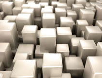 Metallic 3d cubes. Metallic cubes with depth of field background Stock Image