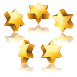 Metallic 3d golden star of David. With reflection set Royalty Free Stock Photography