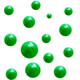Metallic 3D green balls. design element. Falling metallic green balls. design element Royalty Free Stock Images